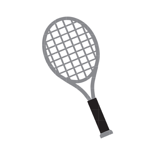 Tennis racket black and white .