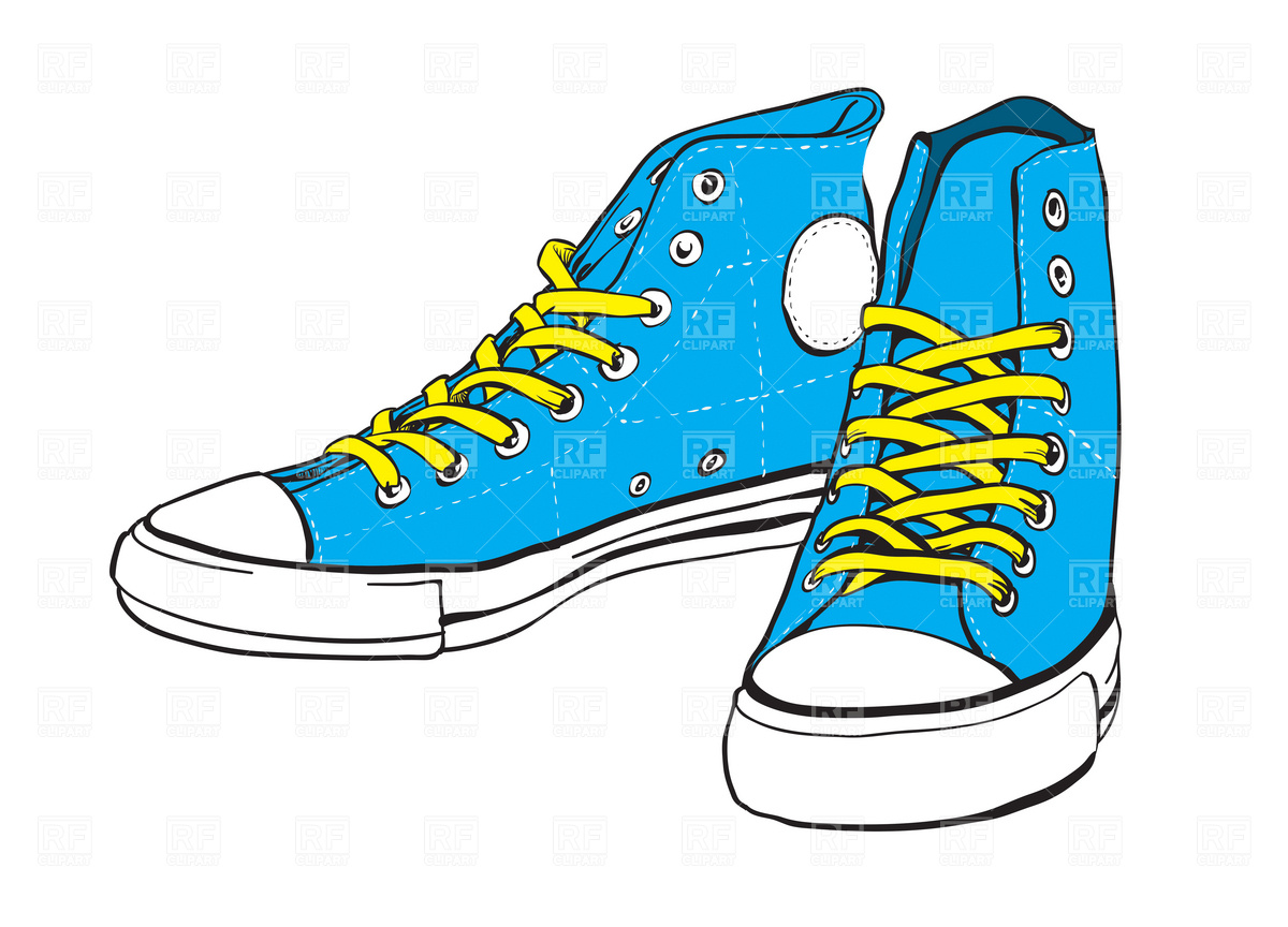 Tennis Shoes Clip Art Blue Sneakers With Yellow Lace