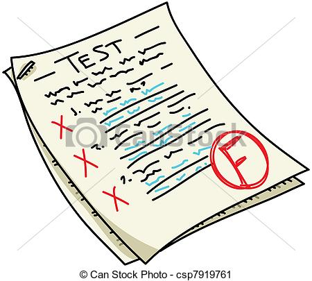 ... Test - A cartoon test with an u0026#39;Fu0026#39; result. Test Clipartby ...