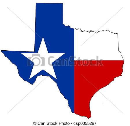 ... Texas - Texan map, filled with its flag as background.