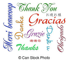 ... Thank you card many languages - Illustration composition of.