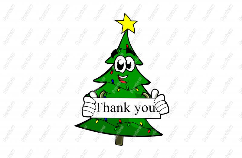 Thank You Christmas Tree Cartoon Clip Art