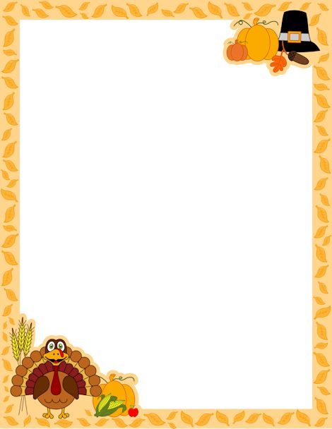 Thanksgiving border page borders thanksgiving and pilgrim