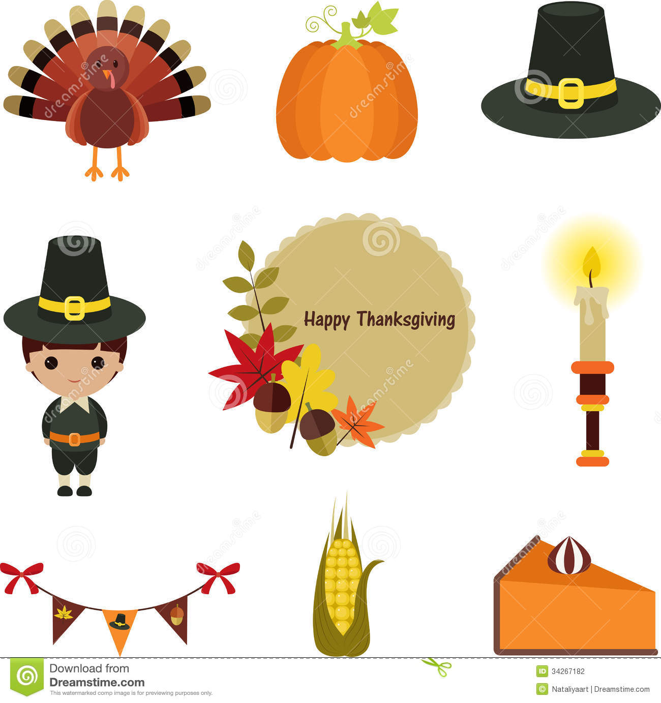 Thanksgiving clip-art set. Stock Photogr-Thanksgiving clip-art set. Stock Photography-17