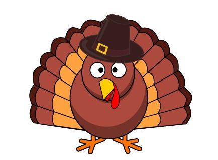 Cartoon Turkey in Pilgrim Hat #Thanksgiving #clipart