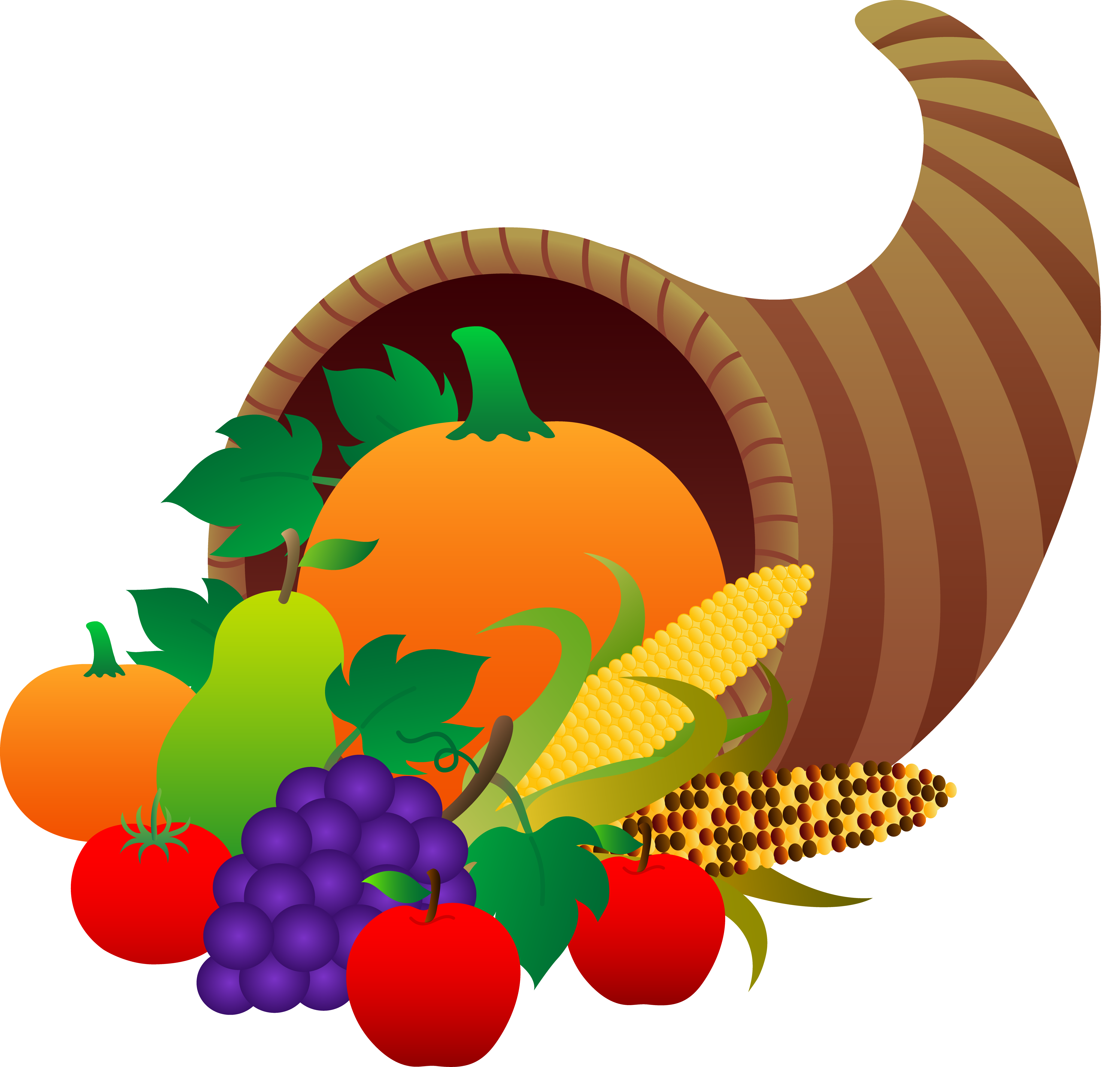 Thanksgiving Cornucopia - Fre - Thanksgiving Food Clipart