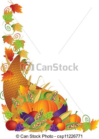 Thanksgiving Cornucopia Vines Border Illustration - csp11226771