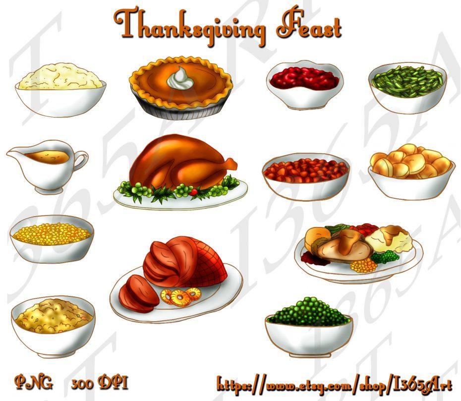 Thanksgiving Dinner Feast Clip Art Set, Digital Graphics for Holidays
