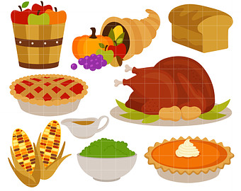 Thanksgiving Feast Dinner Digital Clip Art for Scrapbooking Card Making Cupcake Toppers Paper Crafts