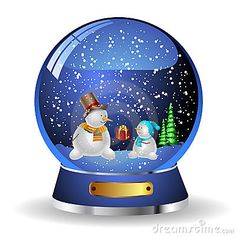 Thanksgiving Snow Globe Clip Art | Illustration snow globe with a christmas tree and snowman within