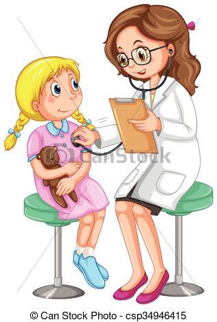Doctor examining little girl - csp34946415