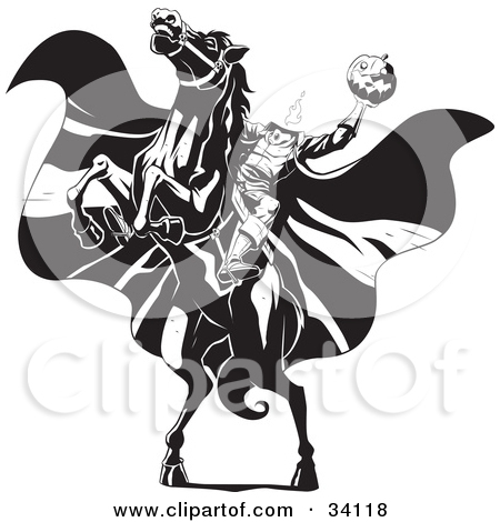 ... The Headless Horseman On A Rearing Horse Holding Up A Jack O Lantern As His Cape Blows In The Wind ...