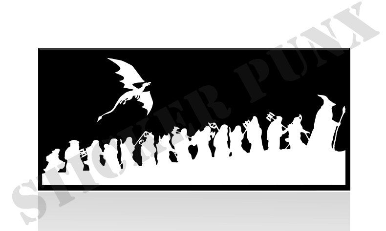 Car Window Decal - The Hobbit Bilbo Gand-Car Window Decal - The Hobbit Bilbo Gandalf Dwarves u0026 Smaug Sticker Lord Of  The Rings-12