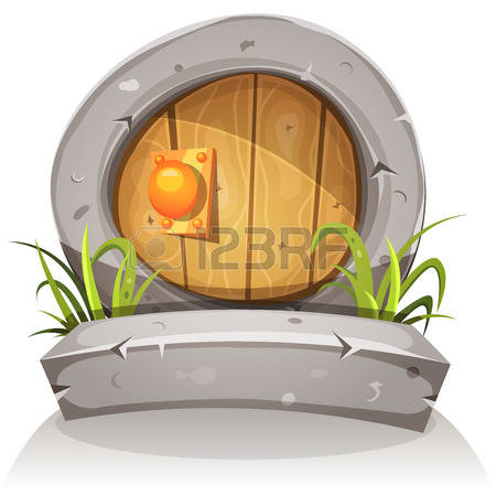 Illustration of a cartoon comic hobbit o-Illustration of a cartoon comic hobbit or dwarf like funny little rounded  wood door with stone-11