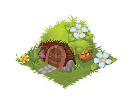 Isometric Cartoon Fantasy Hobbit Village-Isometric Cartoon Fantasy Hobbit Village House Decorated with Flowers -  Elements for Tileset Map, Landscape-15