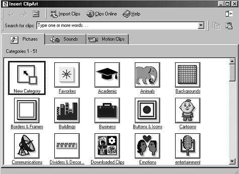 The Insert Clip Art dialogue box