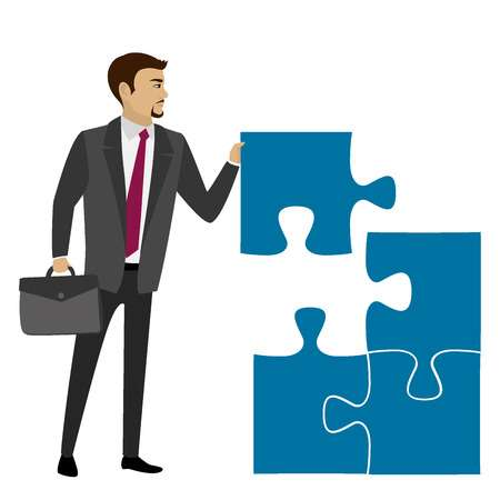 Business concept with piece of the puzzle. Vector illustration Vector