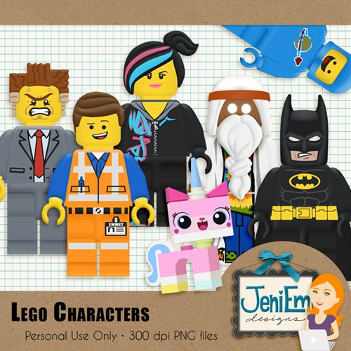Lego Movie Clipart Element Pack, 3D / Be-Lego Movie Clipart Element Pack, 3D / Beveled and Textured - Digital,  Printable-18