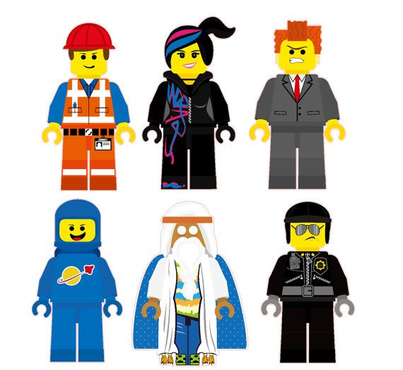 The Lego Movie Characters Removable Wall-The Lego Movie Characters Removable Wall Stickers 6 piece Set including  Emmet, Wyldstyle, Vitruvius, Lord Business, Bad Cop, and Benny-9
