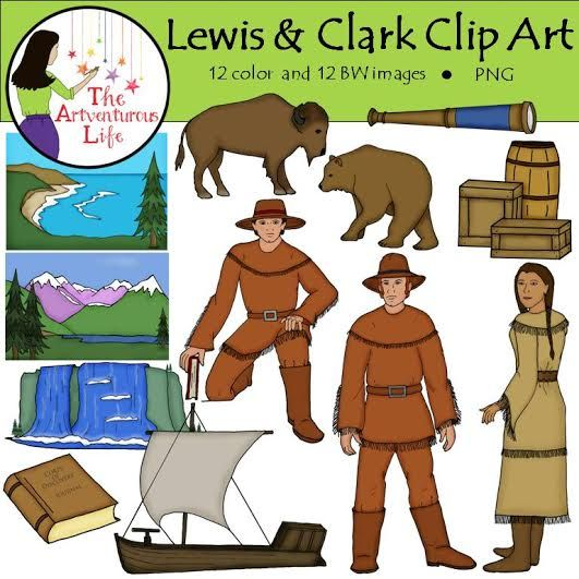 The Lewis and Clark clip art set includes 12 color and BW of the explorers,