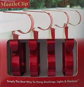 The Original Mantle Clip Bright Red, 4 Per Package