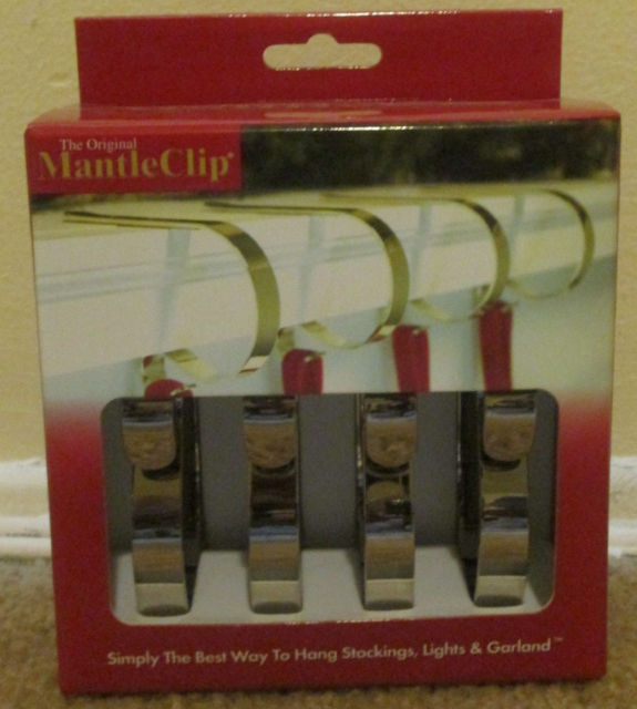 The Original Mantle Clip set of 4 Silver Color Mantle Clips ~ NIB Free Ship