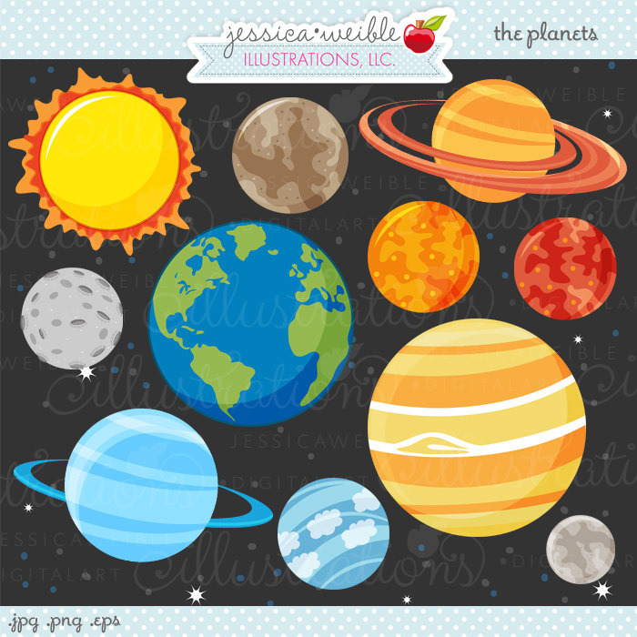 The Planets Cute Digital Clipart - Comme-The Planets Cute Digital Clipart - Commercial Use OK - Space Clipart, Outer Space, Space Graphics-13