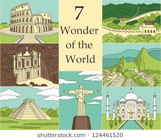 7 Wonders of the World: Colosseum, Great Wall, Machu Picchu, Petra,