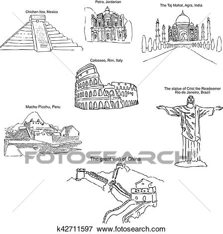 Clip Art - The modern seven wonders of the world. Sketch pencil. Drawing by