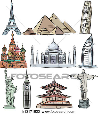 Clipart - Architectural wonders of the world vector collection. Fotosearch  - Search Clip Art,