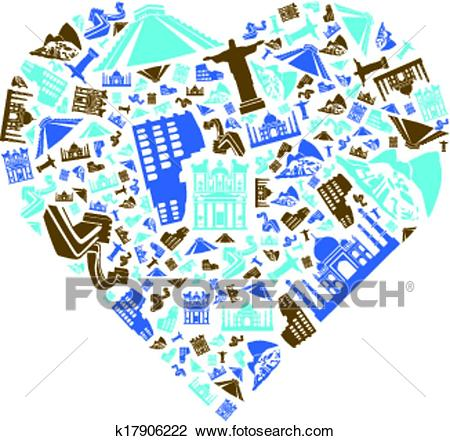 Clipart - Seven Wonders of the World in Heart. Fotosearch - Search Clip Art,