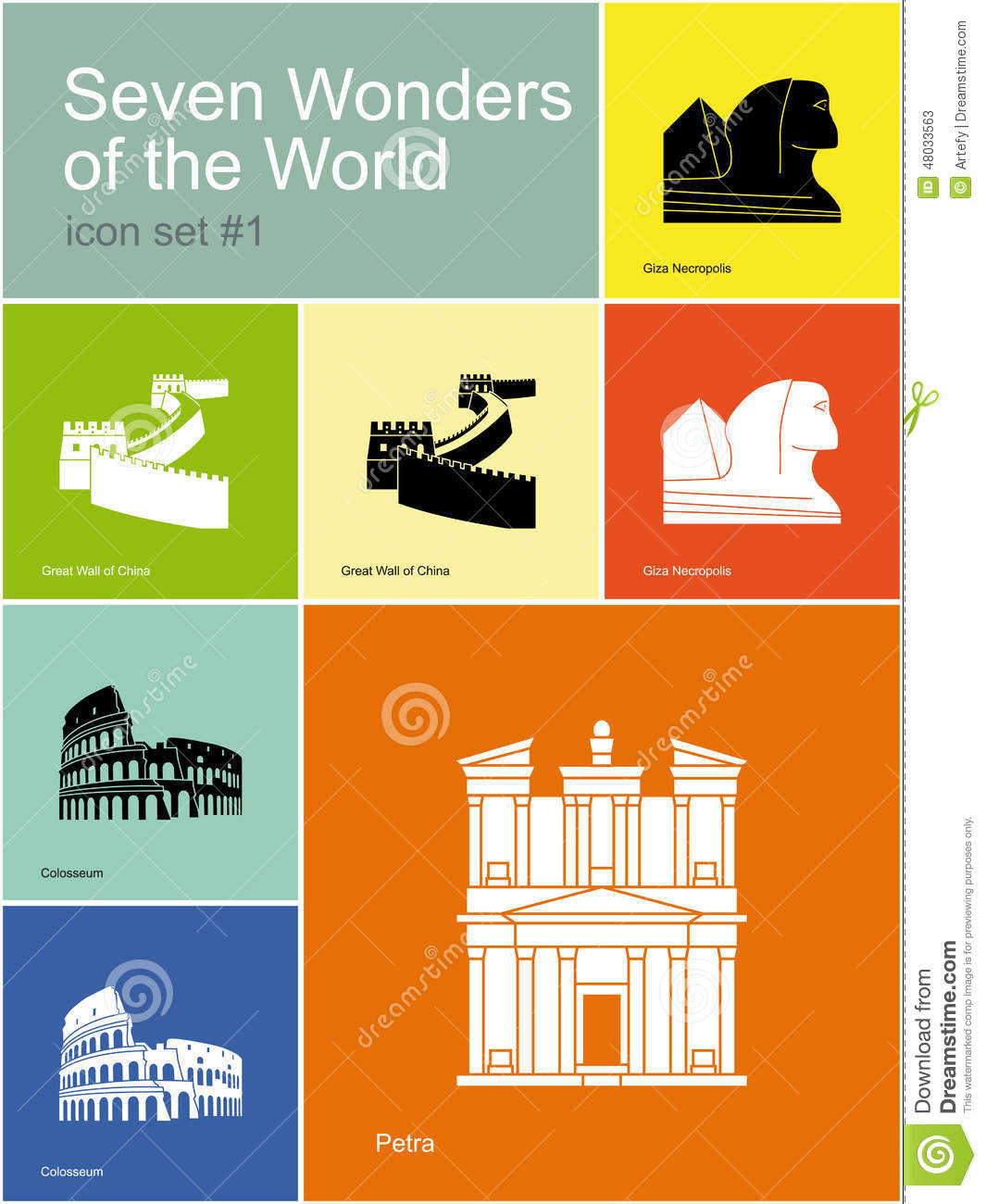 Icons Of Seven Wonders Of The World Stoc-Icons Of Seven Wonders Of The World Stock Vector - Illustration of giza,  seven: 48033563-20