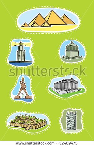 Seven Wonders of the Ancient World a vector illustration