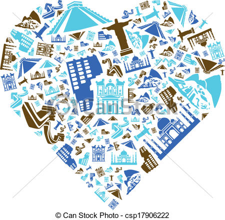 Seven Wonders Of The World In Heart - Cs-Seven Wonders of the World in Heart - csp17906222-7