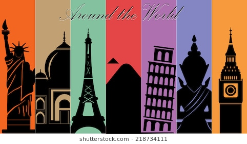 seven wonders of World, Travel and tourism background around the  world-vector eps10