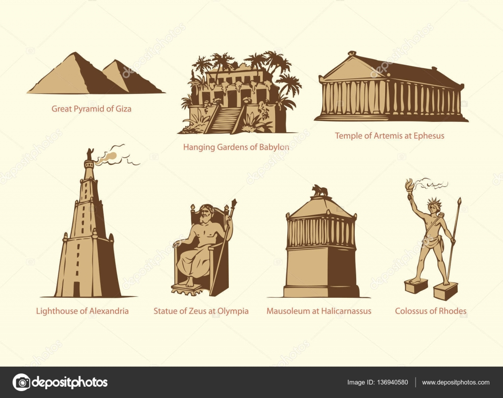 Vector symbols of The Seven Wonders of Ancient WORLD u2014 Stock Vector