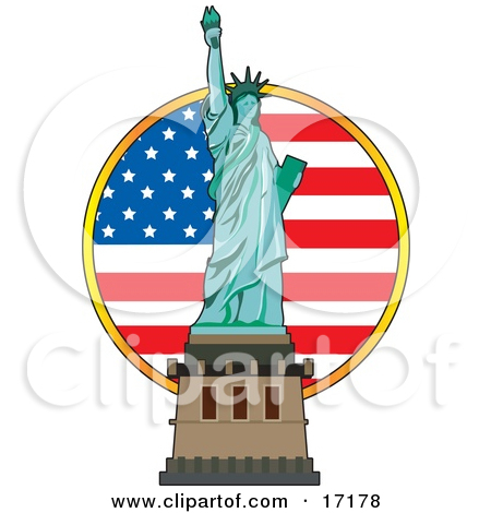 The Statue Of Liberty In Front Of An Ame-The Statue Of Liberty In Front Of An American Flag On Independence Day by Maria Bell-18