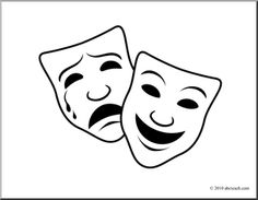Theater Masks Clip Art Free | Clip Art: -theater masks clip art free | Clip Art: Comedy and Tragedy Masks 1 (coloring page) - preview 1-9