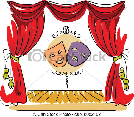 Theater Stage Vector Illustration - Thea-Theater stage vector illustration - Theater stage with red.-15