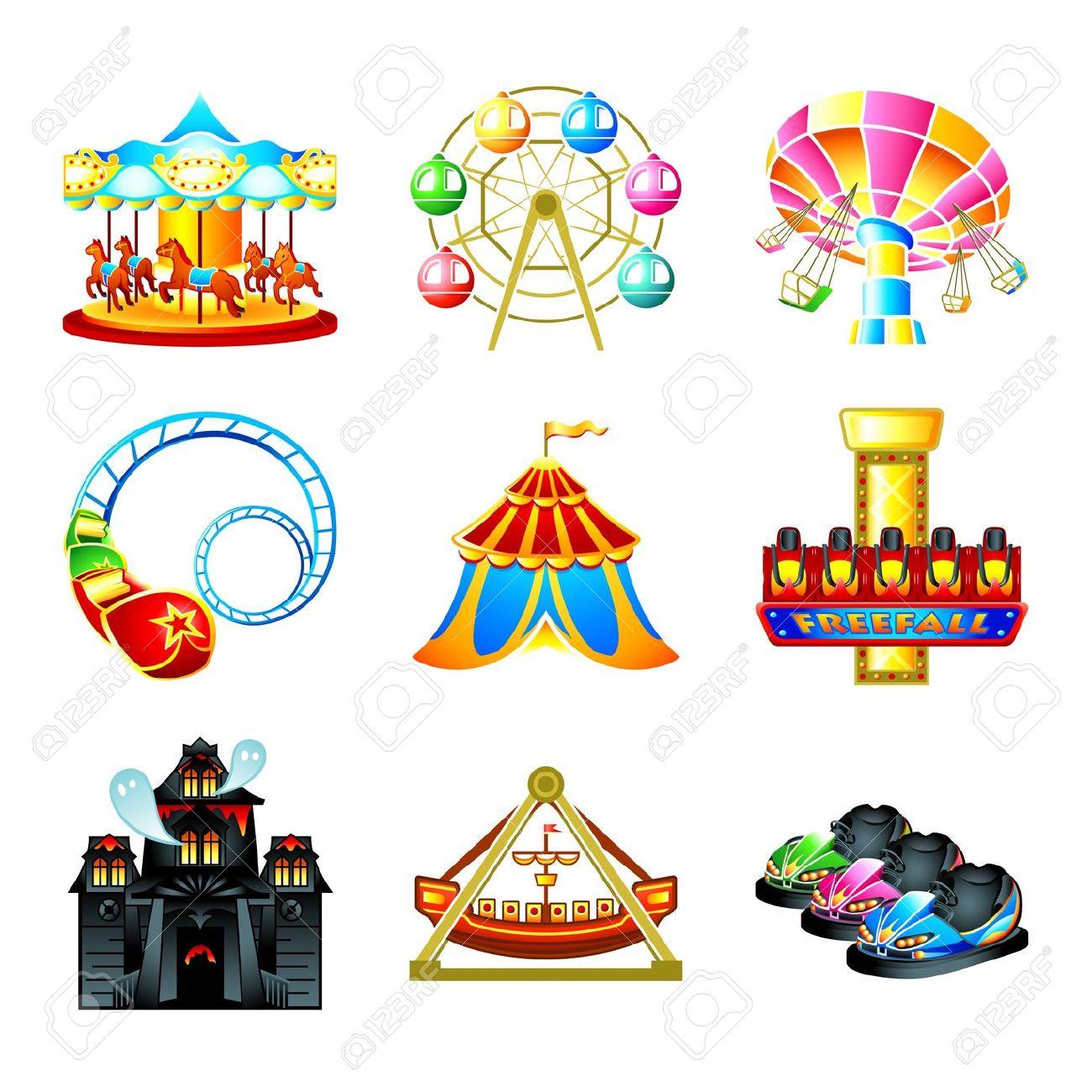 Theme Park Rides Clipart - Amusement Park Clip Art