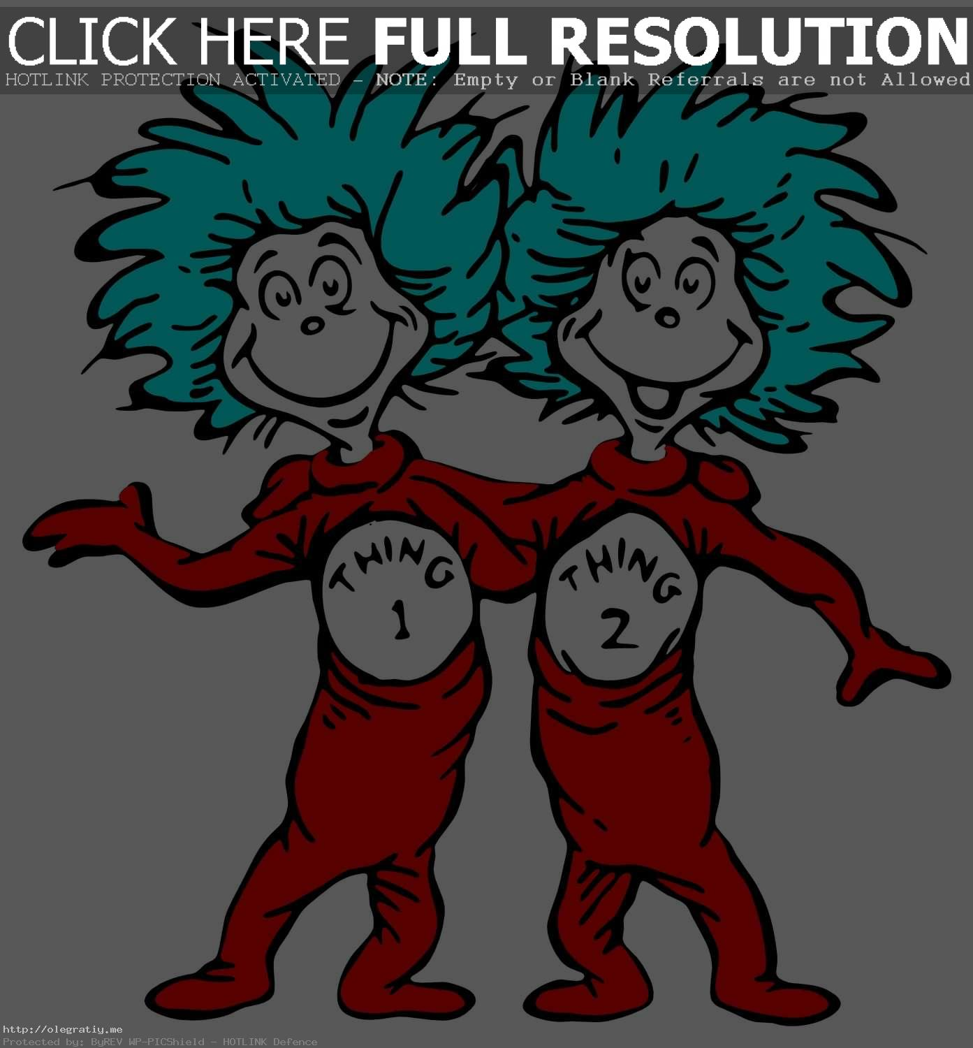 Cat In The Hat Thing 1 And 2  - Thing Clipart