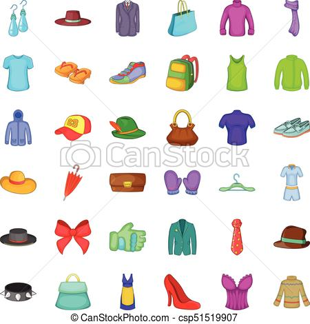 Fashion thing icons set, cartoon style - csp51519907