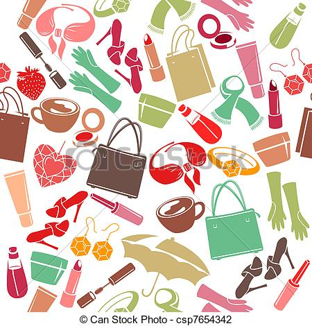 Seamless colorful pattern with womanu0027s things - csp7654342