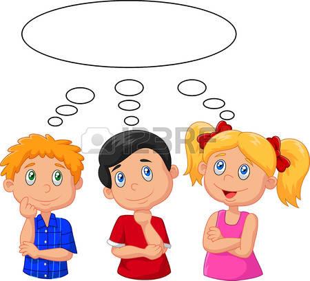 thinking kid: Cartoon kids thinking with white bubble