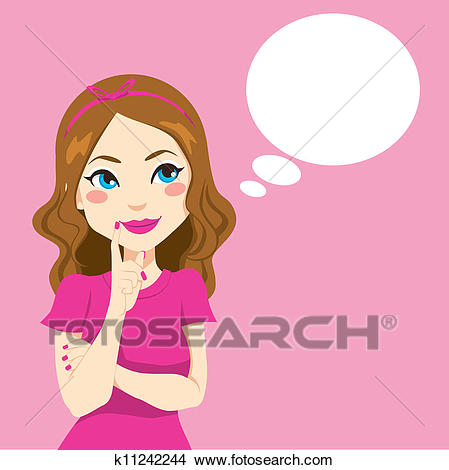 Clipart - Pretty Girl Thinking. Fotosearch - Search Clip Art, Illustration  Murals, Drawings