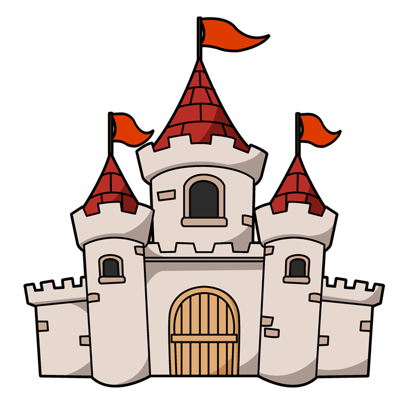 This cartoon castle clip art is perfect -This cartoon castle clip art is perfect for use on your fairy-tale projects, storybook illustrations, scrapbooks, videos, websites, school projects, etc.-0
