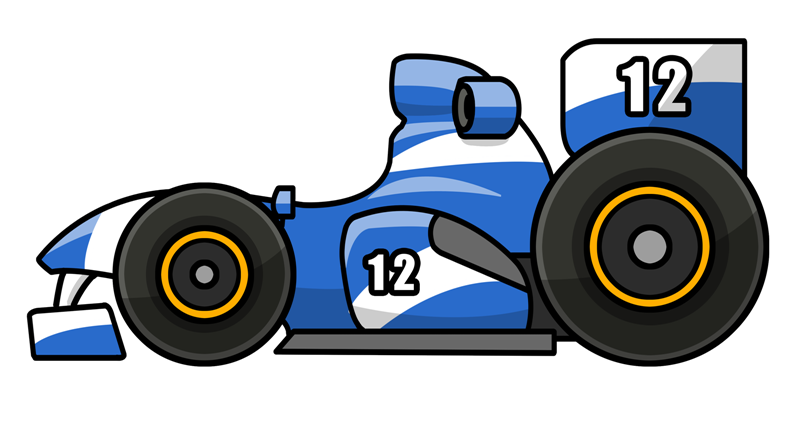 This cartoon Formula One racing car clip art is ideal for use on your race projects, e-books, magazines, comic books, webpages, etc.