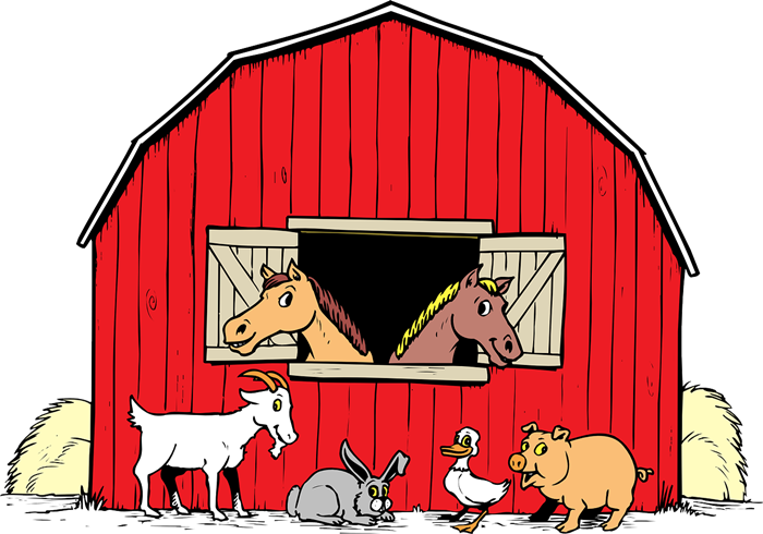 This cute cartoon barn clip art complete with farm animals is free for personal or commercial use as this clip art has been released to the public domain.