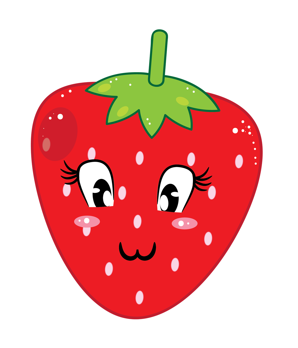 This cute cartoon strawberry clip art done in cool kawaii style is free for personal or commercial use. Add life to your projects by using this clip art.