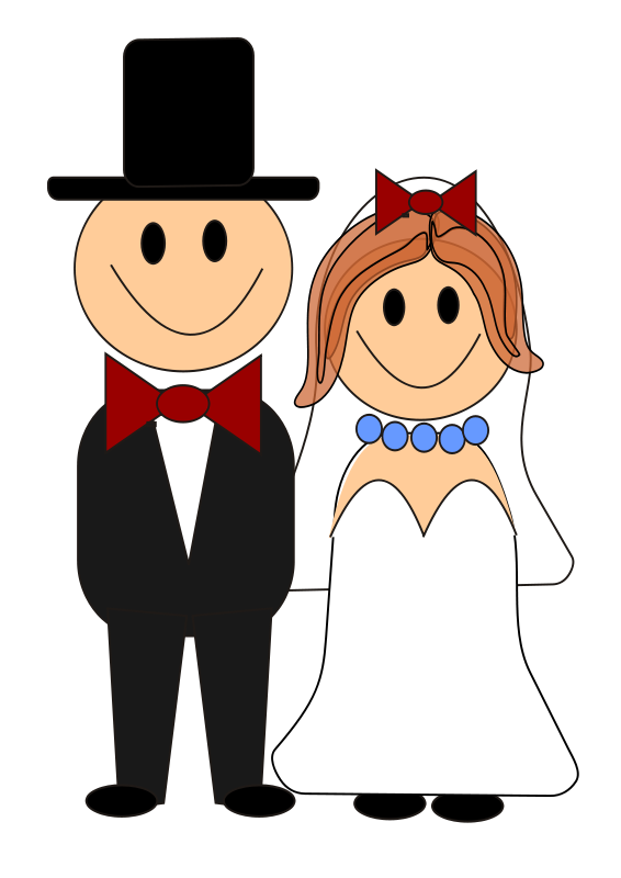 This Cute Clip Art Of A Cartoon Bride And Groom Can Be Used For